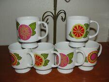 Japan porcelain footed coffee mugs cups green metal rack holder vintage