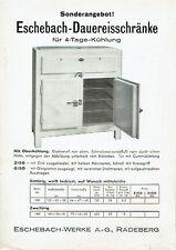 Eschebach Radeberg Prospekt Dauereisschränke 1934 Kühlschrank