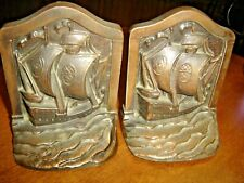 Antique Pair Clipper Ship Book Ends ~ Copper Flash Finish Very nice detail ~ 825