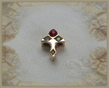 ANTIQUE14K SOLID GOLD SLIDE VICTORIAN 14 CARAT RUBY PEARL OPALS JEWELRY