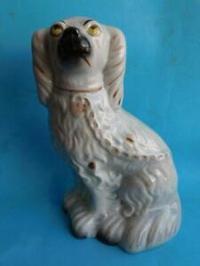 Large Antique Staffordshire Pottery King Charles Spaniel Mantle Dog