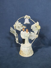 Wedding Cake Topper Vintage 1950s Bride Groom Coast Novelty Flower Arch Bell