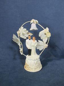 Wedding Cake Topper Vintage 1950s Bride Groom Coast Novelty Flower Arch Bell