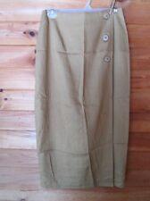 Vintage HARRIS/WALLACE Wrap SKIRT,Straight Line,Womens 6,Rayon,Linen,Light Gold