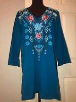 JWLA by JOHNNY WAS Embroidered Yoke V-neck teal jersey knit tunic top  women's L