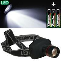 Kopflampe Stirnlampe fokussierbar LED Taschenlampe mit Kopfband Batterie außen