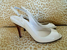 ***COLE HAAN Sz 8M patent leather SLINGBACK HEELS bone!!