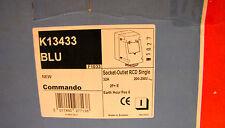 MK Electric Single Socket Outlet, Prewired, 30mA RCD,  32A 200 - 250V K13433 BLU