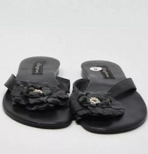 Brighton Women Size 8M Black Leather Flip Flops