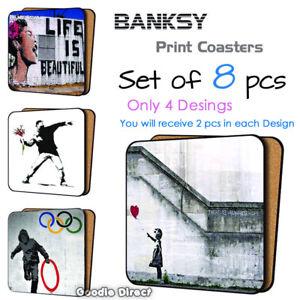 Set of 8 pcs Banksy Street Art Wooden Coaster set,  4 Designs Street Graffiti
