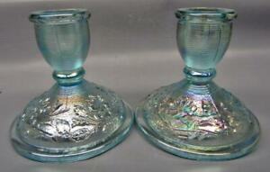 7049 Modern Imperial ROSE Pair of Horizon Blue Carnival Glass Candle Holders