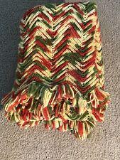Vtg Afgan Crocheted Blanket Throw Zig Zag Chevron 70s Orange Green Yellow 43x66