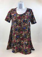 NWT LuLaRoe Women's Blue/Yellow/Red Floral Perfect T T-Shirt Sz XXS
