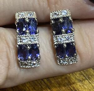 Beautiful Iolite & White Topaz Sterling Silver 925  earrings
