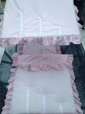 Pram Canopy to fit Silver Cross in PINK  WITH WHITE AND PINK bows