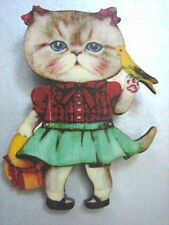 WOOD WOODEN CAT WITH CANARY BROOCH PIN . . CUTE /  KITSCH / VINTAGE LOOK / KITTY