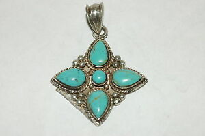 Southwest 5 stone turquoise Pendant Sterling silver