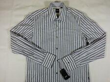 HUGO BOSS BLACK Regular Lucas Stripes Sport Cotton Shirt Mens Small Light Gray