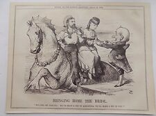 Punch Magazine ANTIQUE BOOK Imprimer 1874 Bringing Home the bride Satire 10x8 pouces