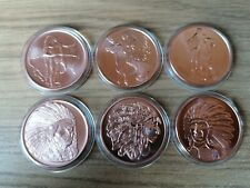 More details for american indian series set 6 x 1 oz .999 copper rounds in capsules
