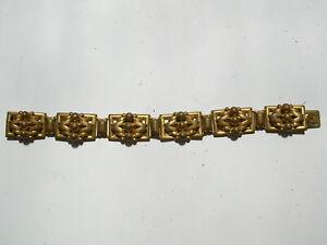 ART DECO 1910's -40s  BRACELET common yellow bijouterie metal NOT gold or silver
