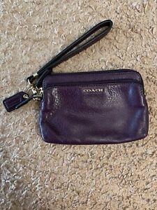 Purple Leather Coach Wristlet Zipper Detachable Wrist Strap