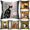 CAT PRINT DOUBLE SIDED SQUARE THROW PILLOW CASE CUSHION COVER SOFA DECOR FUNNY
