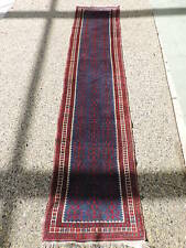 2x9ft. Blue Afghan Balouch Wool Runner