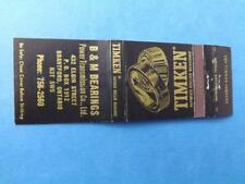 TIMKEN ROLLER BEARINGS B&M POWER TRANSMISSION BRANTFORD ONT VINTAGE MATCHBOOK