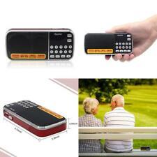 AM FM Portable Mini Radio Clear Speaker Music Player, Micro SD/TF Card C-Red