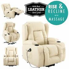 Caesar Cream Electric Rise Recliner Winged Leather Armchair Massage Heated Chair