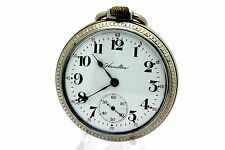 1917 HAMILTON 974 17 Jewel 16s Open Face Base Metal Pocket Watch CLEAN