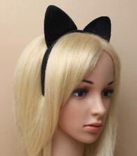 PLAIN BLACK FABRIC CAT EARS HEADBAND HEAD BAND FANCY DRESS PARTY HALLOWEEN FUN