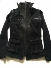 IMPROVD Black Goat Leather Jacket w/ Detachable Knit Sleeves M