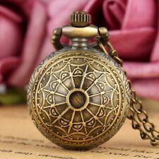 Bronze Spider Web Ball Necklace Retro Quartz Pocket Watch Men Womens Xmas Gift