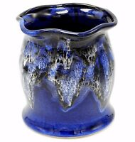 """Studio Pottery Utensil Holder Vase Blue White Drip Glaze Fluted Rim Signed 7"""""""