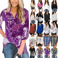 USA Womens Long Sleeve T-shirt Tunic Tops Loose Casual Pullover Blouse Plus Size