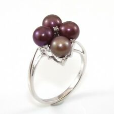 10K White Gold 6mm Pearl Diamond Accent Cluster Ring Size 8