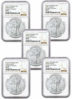 5-Pack 2020(P) 1 oz Silver American Eagle Struck at Philadelphia NGC MS69 Brown