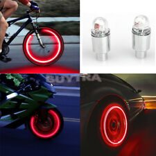 2Pcs Red LED Cycling Bike Bicycle Neon Car Wheel Tire Valve Caps Wheel Lights TM