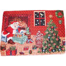 2pc Christmas Cotton Linen Table Doilies Placemat Santa Home Decoration