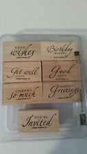 Stampin' Up! Sincere Salutations Rubber Stamps set of 8~2005