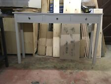 H90 W150 D30 BESPOKE CONSOLE HALL TABLE 3 DRAWERS PALE DOVE GREY SATIN