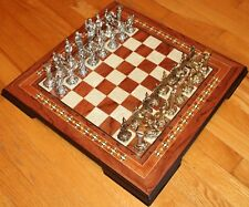 "19"" Wood & Mother of Pearl Board & Molded Metal Ancient Roman Piece Chess Set"