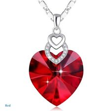 Dainty 3 Hearts Silver red Crystals Pendant Necklace Jewelry Mother's Day Gift