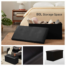 NEW Large Black Leather Ottoman Storage Box Pouffe Footstool Toy Foldable Living