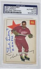 TED LINDSAY SIGNED 1954 PARKHURST CARD PSA/DNA AUTHENTICATED #46 RED WINGS