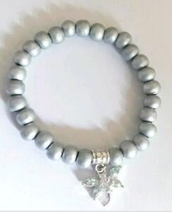 Bracelet - Elastic Silver 8mm Wooden Beads Rhinestone Dragonfly Charm