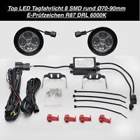 TOP Qualität LED Tagfahrlicht DRL TFL 8 SMD Rund Ø70-90mm E4-Prüfzeichen 6000K