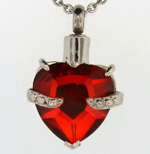 "Red Heart Cremation Jewelry Keepsake Pendant Urn with 20"" Necklace - Funnel"